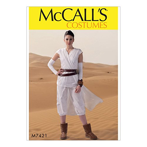 McCall Pattern Company M7421 Misses Criss-Cross Tabard, Top, Cropped Pants, Gauntlets, Belt and Cuff, Size Miss (Sml-Med-Lrg-Xlg)