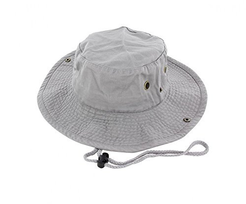 Gray_(US Seller)Unisex Hat Wide Brim Hiking Bucket Safari Cap Outback