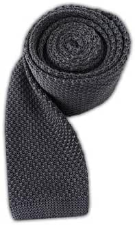 The Tie Bar 100% Silk Knit Solid Gray 2 3/4 Inch Width Tie