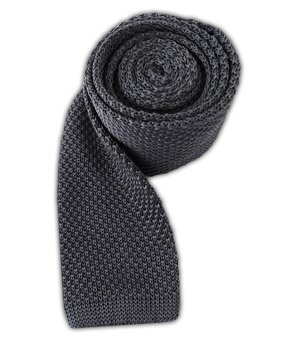 Knit 100% Silk - The Tie Bar 100% Silk Knit Solid Gray 2 3/4 Inch Width Tie