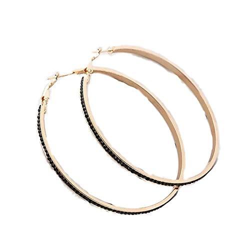 i&D Jewelry Women Bridal Wedding Crystal Rhinestone Hoop Earrings Cute Huggie Earrings Black Cubic Zirconia Earings (Gold Black)