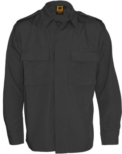 Propper Poly / Cotton Twill LS 2 Pocket BDU Shirt Black XLR F545212001XL2 (Poly Bdu Shirt Twill)
