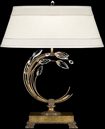 Gold Laurel Chandelier Crystal (Fine Art Lamps 773210, Crystal Laurel Tall 3 Way Crystal Table Lamp, 1 Light, 150 Total Watts, Gold)