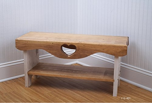 Farmhouse Bench, Bedroom Bench, Shaker Bench, Heart Bench, Bench with Shelf, Wood Bench, Rustic Bench, Vintage Bench, Living Room Bench