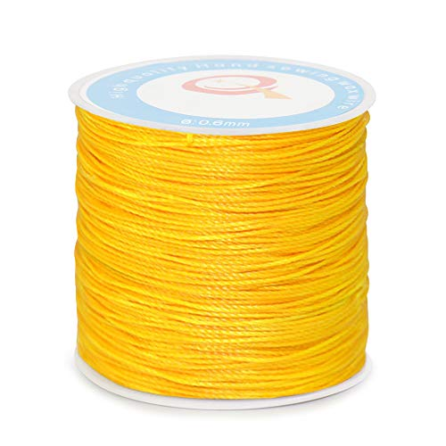 (Desirable Life 87 Yards 150D/3 0.6mm Round Waxed Sewing Thread Wax Cord for Leather Denim Hand Craft DIY Bracelet Jewelry Making Beading Shoe Bag Repairing Extra Strong Heavy Duty (Yellow))