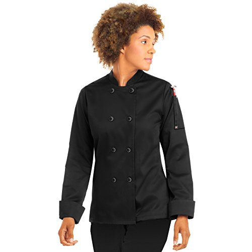 On The Line Womens Long Sleeve Chef Coat/Double Breasted/Plastic Button Reversible Front Closure (Large, Black)