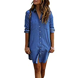 Women's Long Sleeve Blouse Dress Denim Shirt Dresses Button Down Chambray Cotton Tops