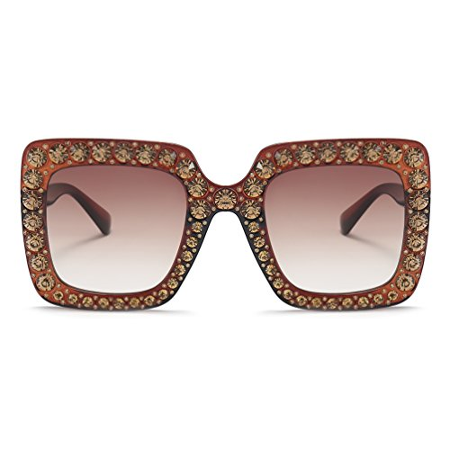 Armear Luxury Crystal Sunglasses Oversized Retro Square Women Shades UV Protection (Brown, - Shades Luxury