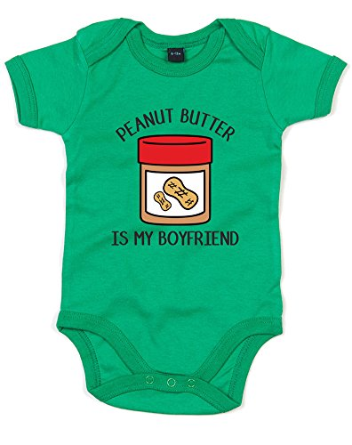 Peanut Butter Is My Boyfriend, Printed Baby Grow - Kelly Green/Black/Transfer 12-18 - Black Boyfriend My Tumblr