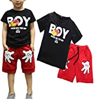2-7T Boy Clothes Two Piece Black White Short Sleeve Boy T-Shirt & Cartoon Short Sets Cool Toddler Boy Out