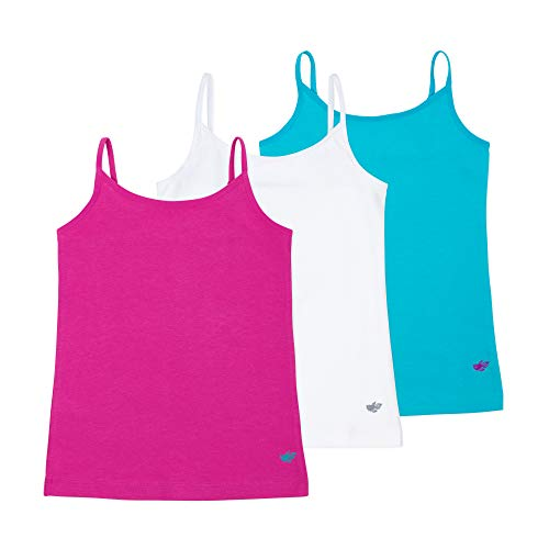 Lucky & Me Emma Girls Camisoles, 3-Pack, Longer Length w/Adjustable Straps, Tagless, Bright, Size 9/10 ()