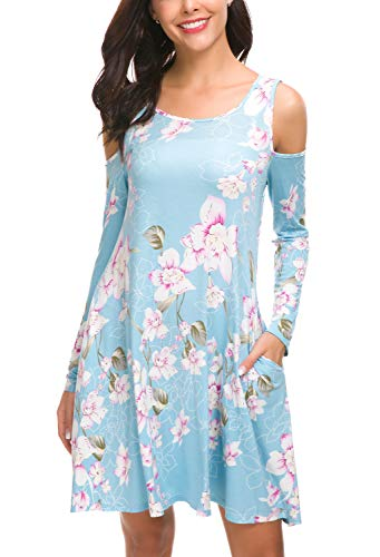 - QIXING Women's Cold Shoulder Floral Print Tunic Top Swing T-Shirt Loose Dress with Pockets FP Light Blue-L