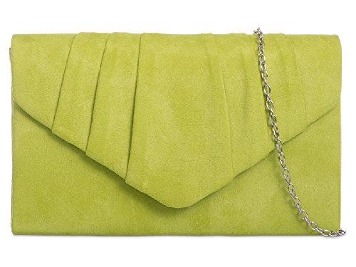 Lime Cocktail Bag Suede Ladies Women's Handbag Bag Envelope Purse Faux Clutch Evening KW308 A7axqU7w