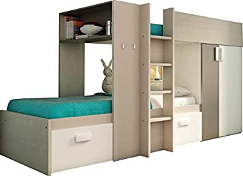 Etagenbett Kinder Grau : Amazon etagenbett kinder ultra moderne farbe holz