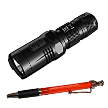 Nitecore EA11 LED Flashlight - 900 Lumens - CREE XM-L2 (U2) LED - Runs on 1 x 14500 or 1 x AA Battery w/ FREE Pen