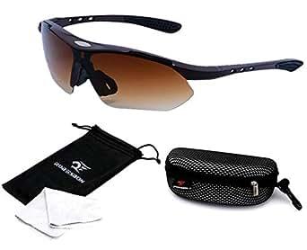 Robesbon UV 400 Cycling Sunglasses Eyewear Sport Goggles Outdoor Mountain Bike MTB Motorcycle Bicycle Sunglasses-Matte Brown [FS-EW004C]