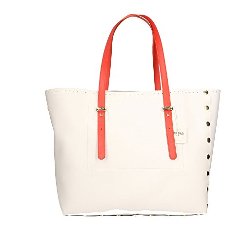 in en POP à Corail Sac Italy Made Blanc Blanc main Cm véritable 34x31x15 Bags Impression Saffiano cuir femme TWgzWfc