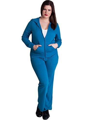 Ladies Blue Plus Size Zip-up Hoodie & Drawstring Sweatpants Set