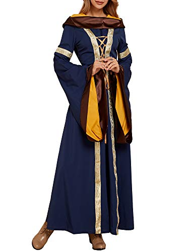 Ofenbuy Womens Deluxe Victorian Dress Vintage Gothic Renaissance Medieval Dresses Cosplay Halloween Blue]()