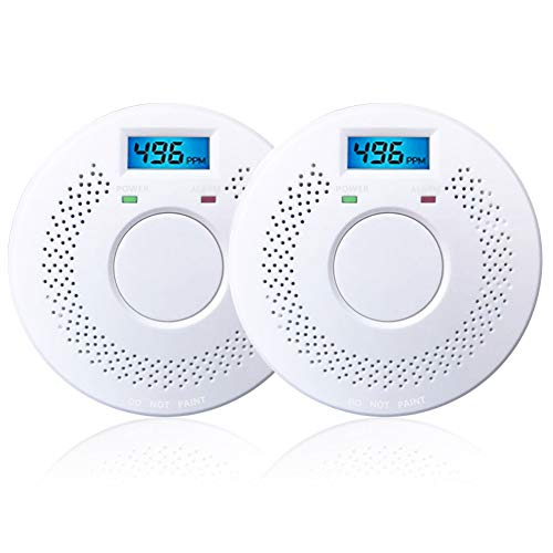 Combination Photoelectric Smoke Detector and Carbon Monoxide Detector Alarm Digital Display, Protect Your Home from Fire and Gas Leaks 2 Pack