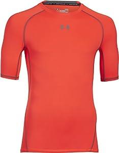 Under Armour Men's HeatGear Compression T-Shirt, Bolt Orange/Steel, L