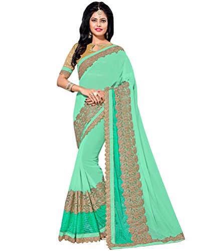 Sea Green Georgette Top (Indian Ethnic Faux Georgette Sea Green Fancy Saree)
