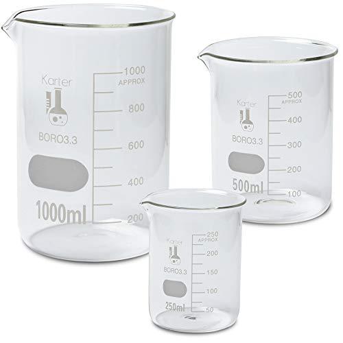 Glass Low Form Beaker Set, Borosilicate Glass, Single Metric Scale, 3 Sizes – 250, 500, and 1000ml, Karter Scientific 215L2