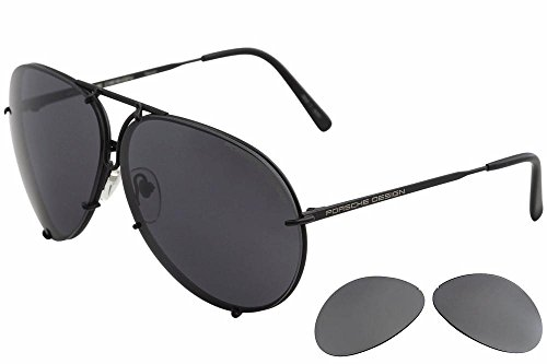 Porsche Designs Sunglasses P8478 D Black Matte Brown Olive with Silver Mirror 66 10 - Sunglasses 8478 Porsche