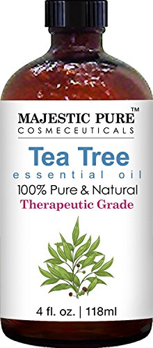 Majestic Pure Therapeutic Melaleuca Alternifolia Tea Tree Oil With Dropper 4 Fl Oz