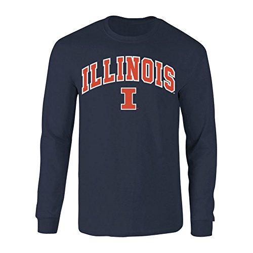 (Elite Fan Shop Illinois Fighting Illini Long Sleeve Tshirt Arch Navy - L)