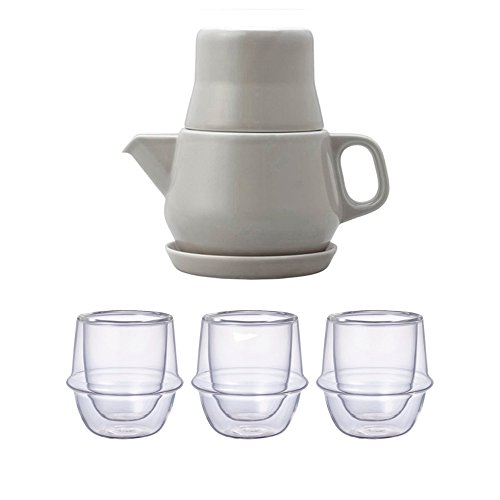 KINTO Gray Tea For One and Three KRONOS Double Wall Glass Espresso Cup, Set of 4 by KitcheNova (Image #5)