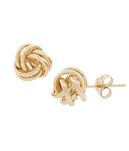 Knot Designer - 14K Solid Yellow Gold Love Knot Earrings 8mm- Real 14K butterfly backings
