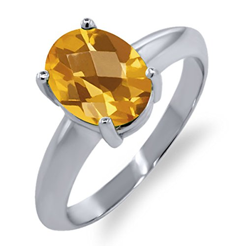 1.60 Ct Oval Checkerboard Natural Yellow Citrine 925 Sterling Silver Ring 9x7 mm