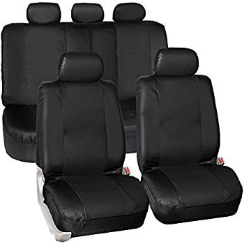 FH GROUP PU023115 Synthetic Leather Seat Covers, Airbag & Split Ready, Solid Black Color- Fit Most Car, Truck, Suv, or Van