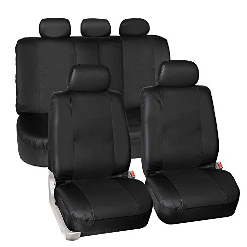 Jeep Grand Cherokee Leather Seats - FH GROUP PU023115 Synthetic Leather Seat Covers, Airbag & Split Ready, Solid Black Color- Fit Most Car, Truck, Suv, or Van