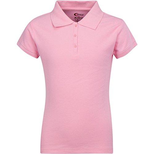(Premium Short Sleeves Girls Polo Shirts Pink M 10/12)