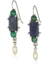 Gold-Tone Semi-Precious Aventurine Green Rectangle Drop Earrings