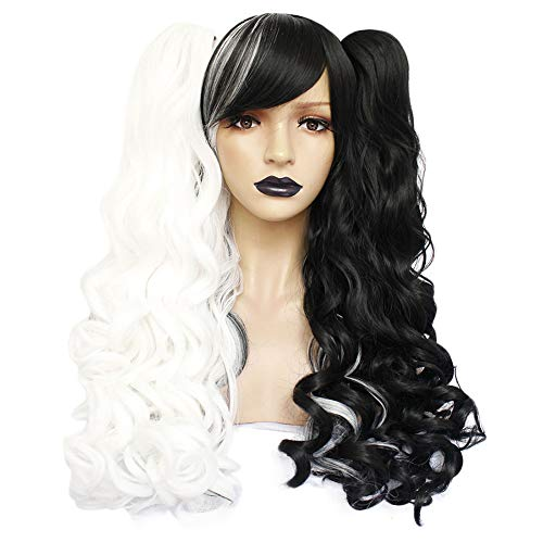 Anogol Hair Cap +Black and White Wig for Lolita Wigs Long Curly Synthetic Hair Cosplay Wig with Ponytails