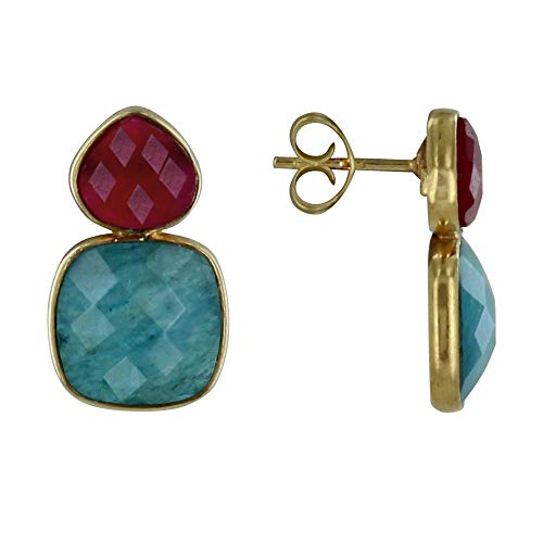 Les Poulettes Jewels - Golden Silver Earrings Fuchsia Chalcedony Oval and Square of Blue Faceted Apatite