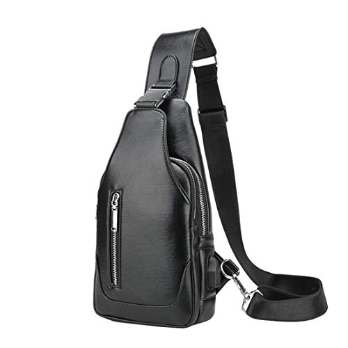 - Stimmt Genuine Leather Sling Bag Small Casual Shoulder Bags Fashion Cute Crossbody Backpacks Bags for Hiking or Multipurpose Daypacks for Man Women Lady Girl Teens (Black)