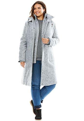 Women's Plus Size Classic Winter Coat Heather Grey Tweed,14/16 (Size Plus Coat Tweed)