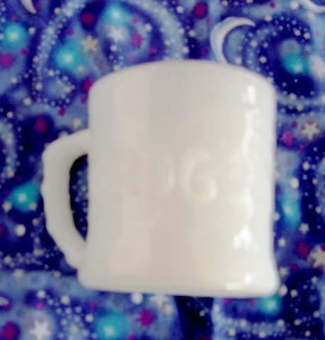 (Vintage White Milk Glass Grog the Caveman Animated Comic Figure Coffee Cup Mug)