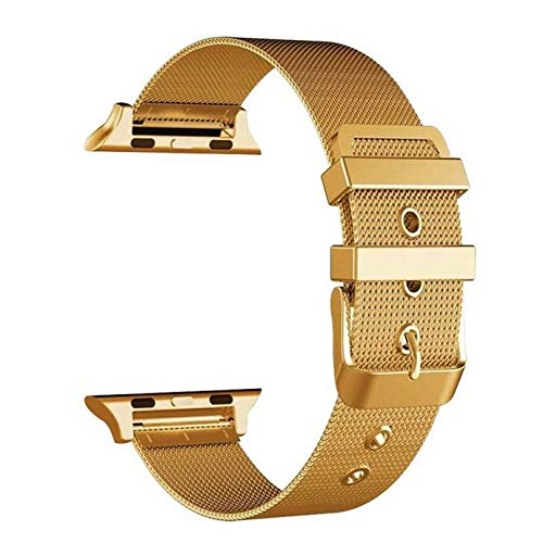 Buckle Gold Mesh (RH Closure Clasp Metal Strap Replacement Bracelet Stainless Steel Buckle Mesh Belt Wristbands Compatible for Apple Watch Series 4/3/2/1 Contracted Design Style (Gold))