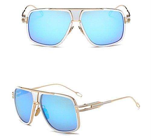 Gafas Retro Redonda Hombres Big Sol Box Blue Chip Con Y Los Ice WHLDK Box Cara Elegantes The Gafas De Parejas De Sol Estilo Sol Gafas De w6xtft