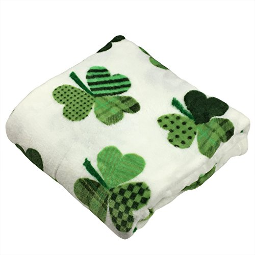 Price comparison product image St. Patricks Day Plush Throw Blanket Patchwork Shamrocks Decoration Gift 50 x 60