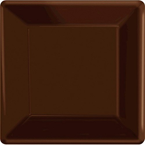 Disposable Square Dinner Party Plates Tableware, Chocolate Brown, 20 Pieces, Made from Paper, Chocolate Brown, 10