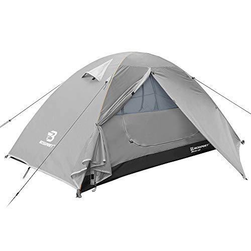 Bessport Camping Tent 2-Person Lightweight Backpacking Tent Waterproof Two Doors Easy Setup Tent for Outdoor, Hiking Mountaineering Travel-Light Grey