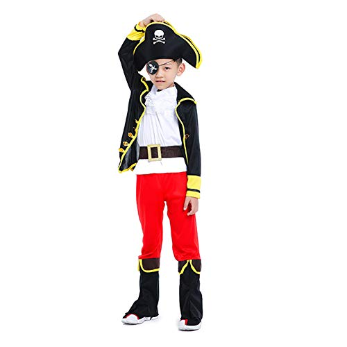 YEMEKE Boy's Pirate Costume Halloween Costume Cosplay Children's Pirate Captain Costume (XL/Height 145cm)