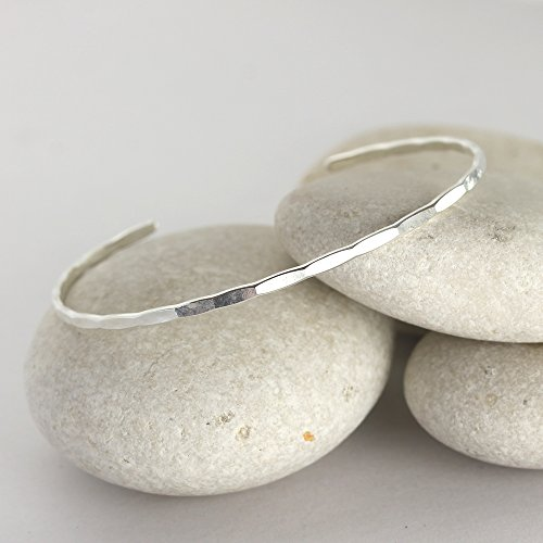 Handmade Silver Bangle - Thin Hammered Silver Cuff, handmade sterling silver bangle