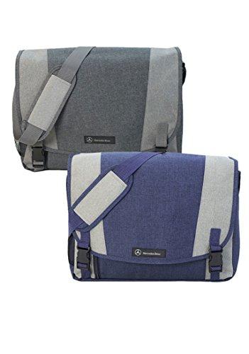 Genuine Mercedes Lifestyle Collection Canvas Messenger Bag, Navy - Nanuet Stores